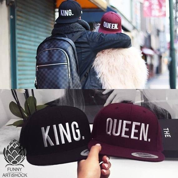 KING and QUEEN 3D Embroidered Flat Bill Snapback Cap Hats Original Premium Classic Snapback with Green Undervisor