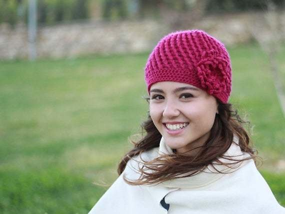 Magenta Beanie Hat with Flower, Crochet Chemo Hat, Women Cancer Hat, Chemo Headwear Winter