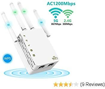 WiFi Extenders Signal Range Booster for Home, 1200Mbps Dual Band Wireless Repeater Extender with 2 Ethernet Port, 4 Antennas Wi-Fi Signal Amplifier Wall Plug Internet Booster to Smart Devices