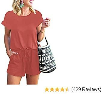 MILLCHIC Women's Summer Casual Short Sleeve Crew Neck Loose Elastic Waist Jumpsuit Rompers with Pockets