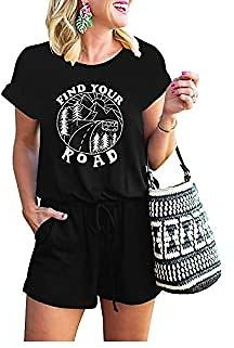 MILLCHIC Women's Summer Letter Printed Casual Loose Crewneck Short Sleeve Elastic Waist Jumpsuit Rompers with Pockets