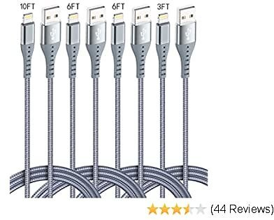 XnewCable 4Pack(10ft 6ft 6ft 3ft) IPhone Charger Lightning Cable Certified Nylon Braided Long Fast USB Cord Compatible for IPhone 11Pro MAX Xs XR X 8 7 6S 6 Plus SE 5S 5C (Silver)