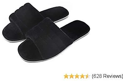 DL Women's Memory Foam Open Toe Slide Slippers with Cozy Terry Lining, Slip-on House Shoes Spa Mules Sandals with Indoor Outdoor Anti-Skid Rubber Sole