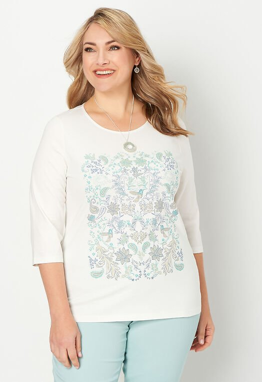 Paisley Printed Plus Size Tee