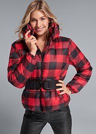 Plaid Print Puffer Jacket