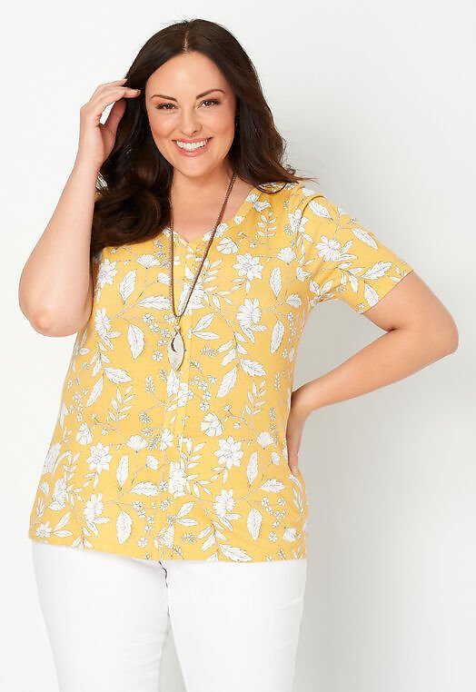 Sketched Floral Print Plus Size Top