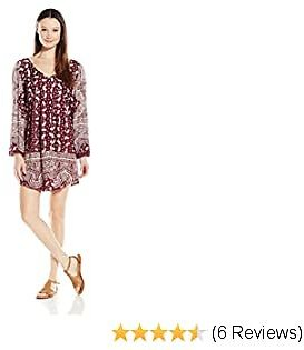 Angie Women's Deep V Neck Printed Bell Sleeve Dress