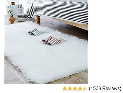 Best Carvapet Luxury Soft Faux Sheepskin Fur Area Rugs for Bedside Floor Mat Plush Sofa Cover Seat Pad for Bedroom,