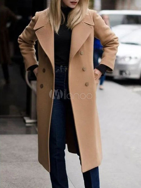 Camel Coat Double Breasted Long Sleeve Winter Coats For Women