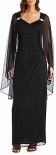 RM Richards Women's Side Ruched Cape Gown