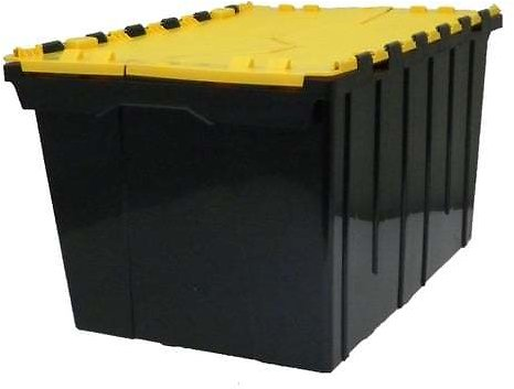 COMMANDER 12-Gallon (48-Quart) Black/Yellow Tote with Hinged Lid