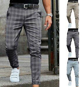 Men Formal Business Thin Casual Trousers Plaids Loose Fit Ankle Fashion Pants#