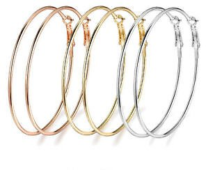 3pair/set Women's Fashion Big Circle Hoop Earrings Smooth Gold Silver Rose Gold
