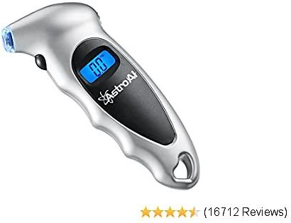 Digital Tire Pressure Gauge 150 PSI 4 Settings for Car Truck Bicycle with Backlit LCD and Non-Slip Grip, Silver (1 Pack)