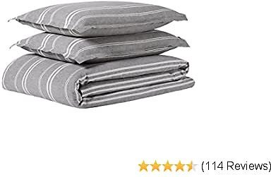 Amazon Brand – Rivet Maxwell Washed Stripe Duvet Cover Set, King, Grey with White Stripe