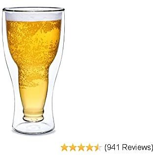 Dragon Glassware Beer Glass, Insulating Double Walled Glass, 13.5-Ounce