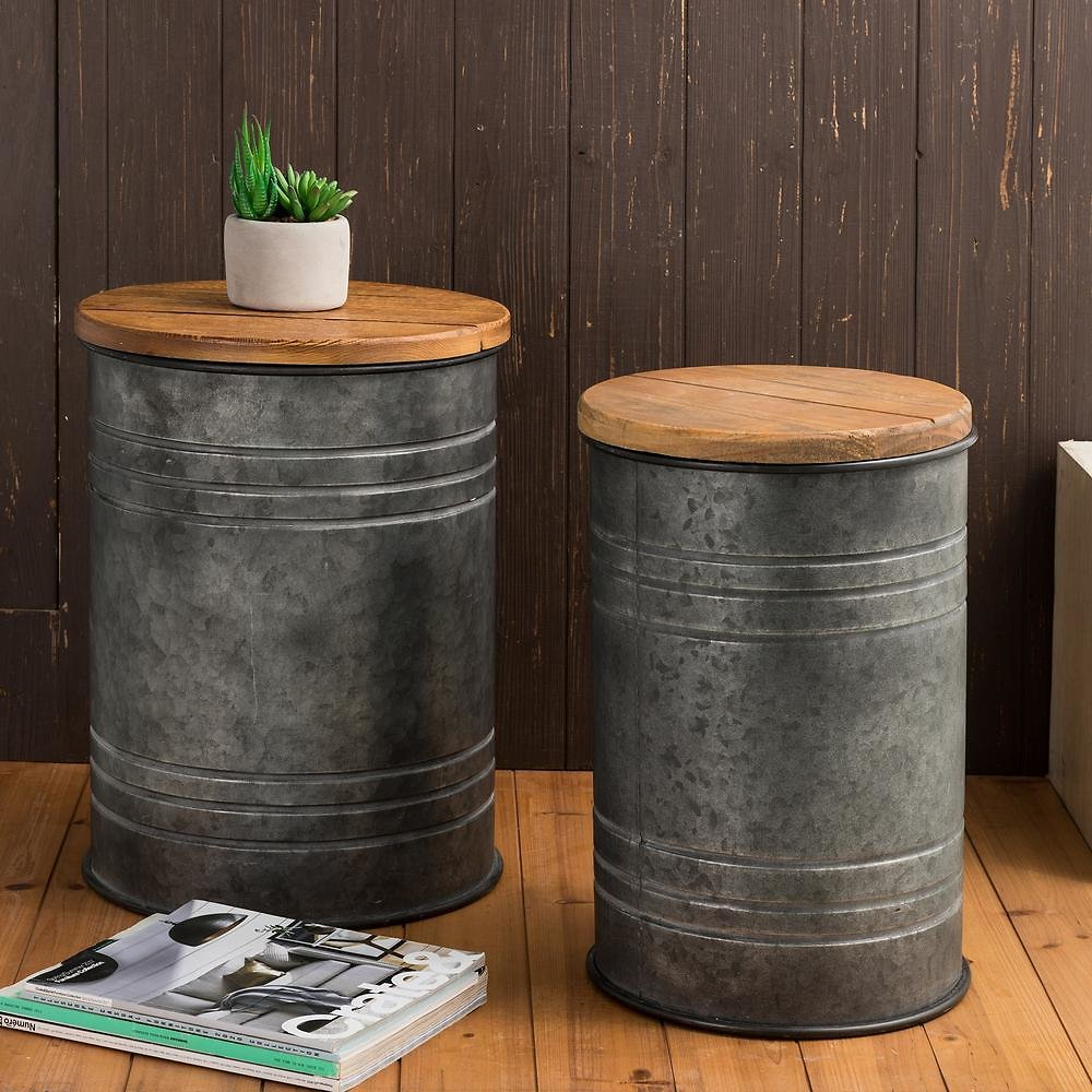 Glitzhome Galvanized Metal Storage Stool with Solid Wood Seat (Set of 2)-1002004184