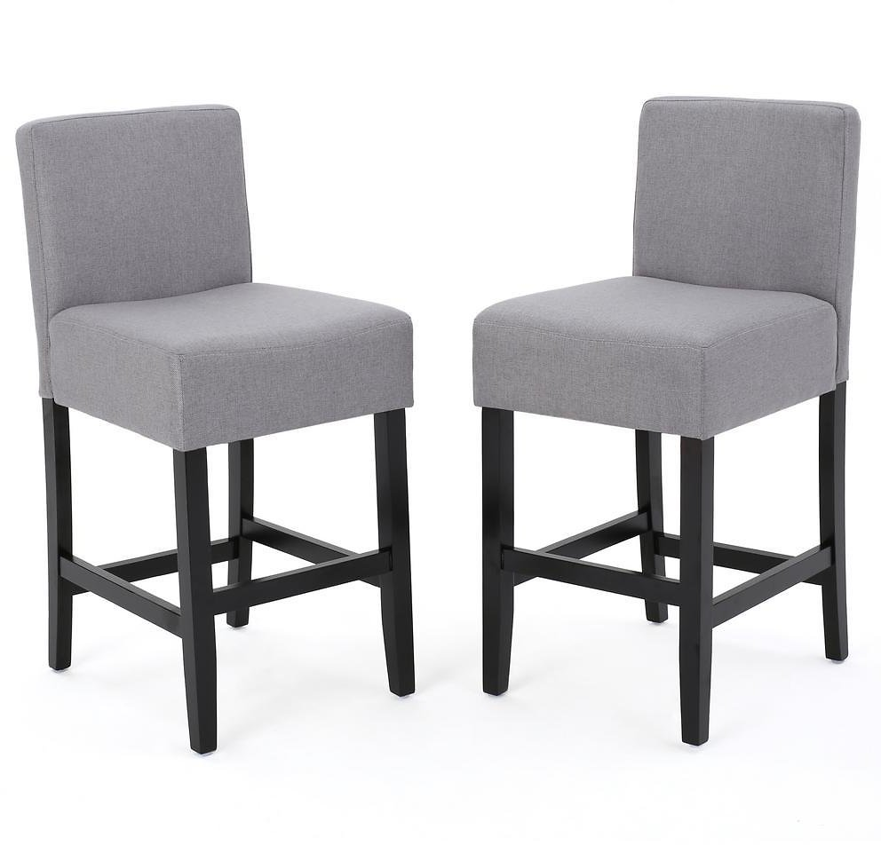 Noble House Lopez 26 In. Light Grey Fabric Counter Stool (Set of 2)-10365
