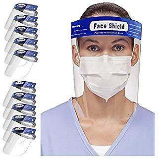 10 Pack Reusable Face Shields, Anti-Fog Adjustable Full Face Shield with Clear Film Elastic for $19.49