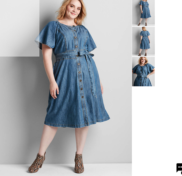 Chambray Button-Front Fit & Flare Dress | Lane Bryant