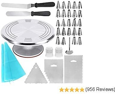 Kootek 35-in-1 Cake Decorating Supplies with Aluminium Alloy Revolving Cake Turntable, 24 Numbered Cake Decorating Tips, 2 Icing Spatula, 3 Icing Combs, 2 Pastry Bags, 2 Coupler and 1 Flower Nail