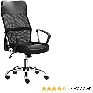 YAHEETECH High Back Swivel Office Desk Chair Height Adjustable Ergonomic Task Chair Gaming Chair Elastic Mesh & Leather Padded with Armrest