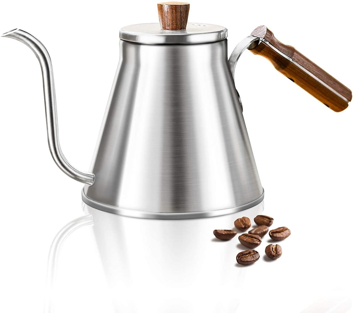 Stainless Steel Coffee Kettle 1.2L/40oz, Gooseneck Pour Over Coffee Kettle for Tea and Coffee, Silver