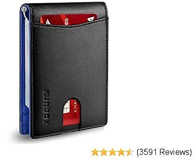 RUNBOX Minimalist Slim Wallet for Men with Money Clip RFID Blocking Front Pocket Leather Mens Wallets