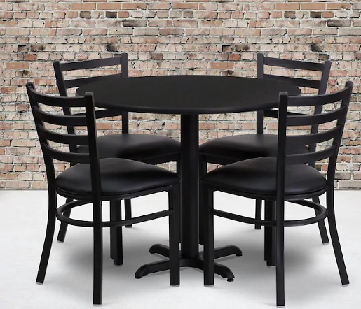Flash Furniture Black Top/Black Vinyl Seat Dining Set with Round Table Lowes.com