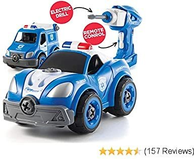 Take Apart Toys with Electric Drill | Converts to Remote Control Police Car | 2 in One Take Apart Toy for Boys | Gift Toys for Boys 3,4,5,6,7 Year Olds | Kids Stem Building Toy