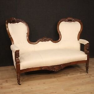 Sofa Furniture Wooden Walnut Antique For Living Room Seats Fabric White 800
