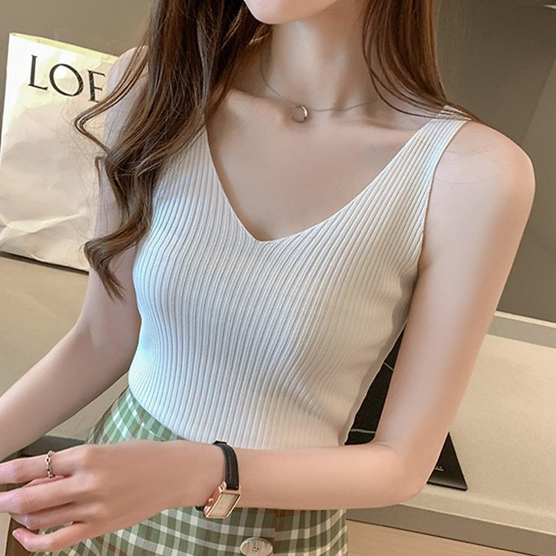 Korean Fashion Women Tops Sexy Halter Tops Lady Ice Silk V-neck Camisole Top Plus Size Woman Knitted Sleeveless Camis Tees Top