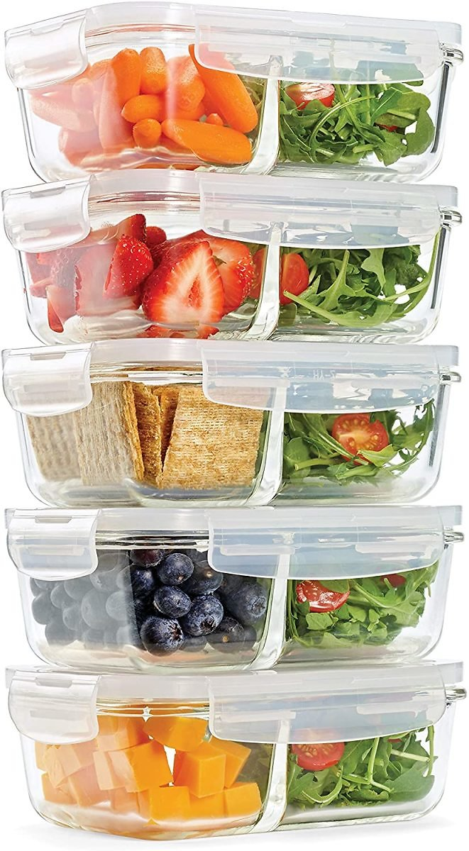Fit & Fresh Divided Glass Containers, 5-Pack
