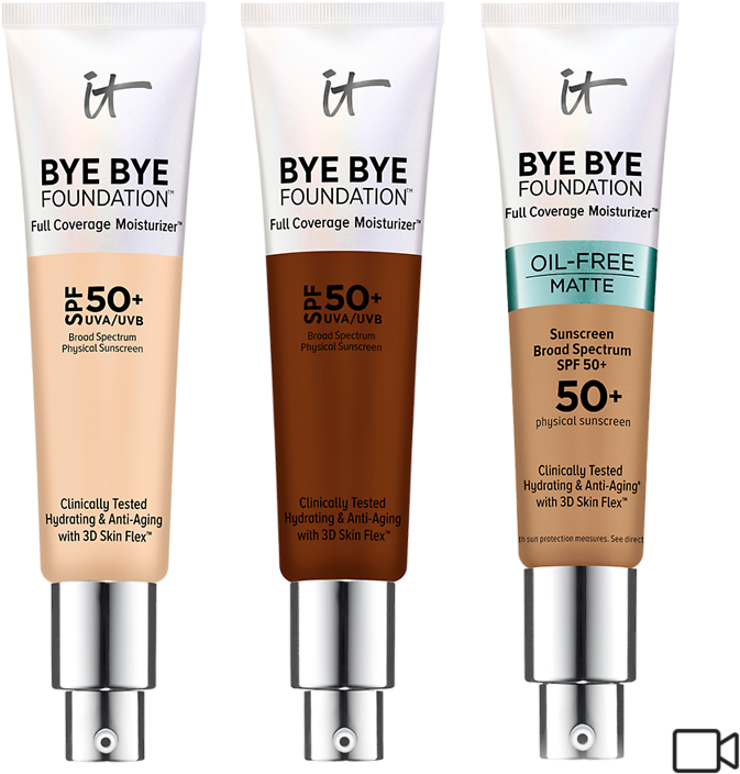 50% Off IT Cosmetics* Bye Bye Foundation Full Coverage Moisturizer with SPF 50+ Original and Oil Free