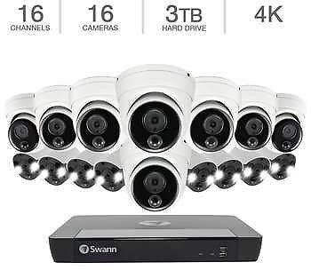 Swann 16-Channel 4K Ultra HD NVR Security System with 3TB HDD, 8 4K Dome Cameras and 8 4K Spotlight Bullet Cameras