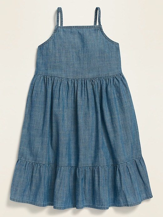 Fit & Flare Sleeveless Chambray Dress for Toddler Girls | Old Navy