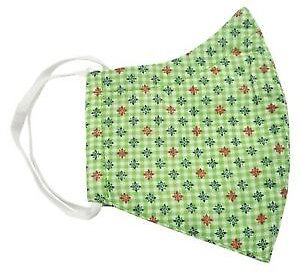 100% Cotton Face Mask Green Check Breathable Double Layered Washable Reusable