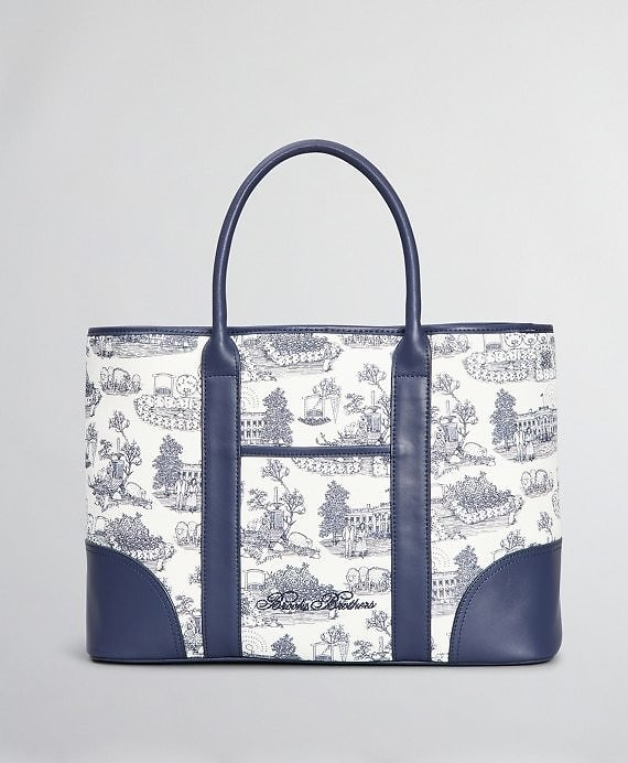 Leather-Trimmed Toile Canvas Tote Bag - Brooks Brothers