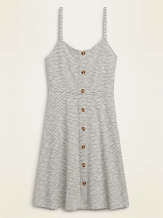 Striped Slub-Knit Button-Front Cami Fit & Flare Dress for Women | Old Navy