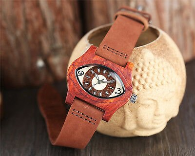 Casual Wood Bamboo Leather Band Men Women Dress Analog Quartz Wrist Watches Gift