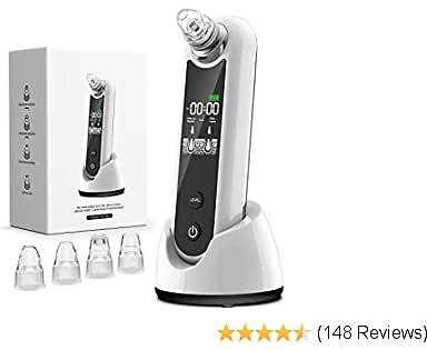 Eunon Blackhead Remover Vacuum - Upgraded Strong Suction Rechargeable Electric Pore Cleanser Acne Comedone Zit Pimple Extractor Sucker Tool with LCD Screen and Stand for Women Men, White