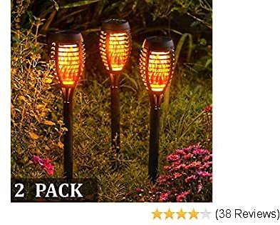 ExcMark Solar Lights Outdoor Decorative for Garden,Yard,Patio,Pathway,Walkway and Pool,Solar Tiki Torches with Flickering Flame for Outdoor Decoration. (2 Pack)