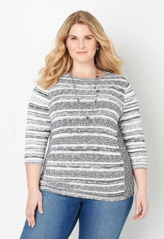 Stitch Detail Plus Size Pullover Sweater