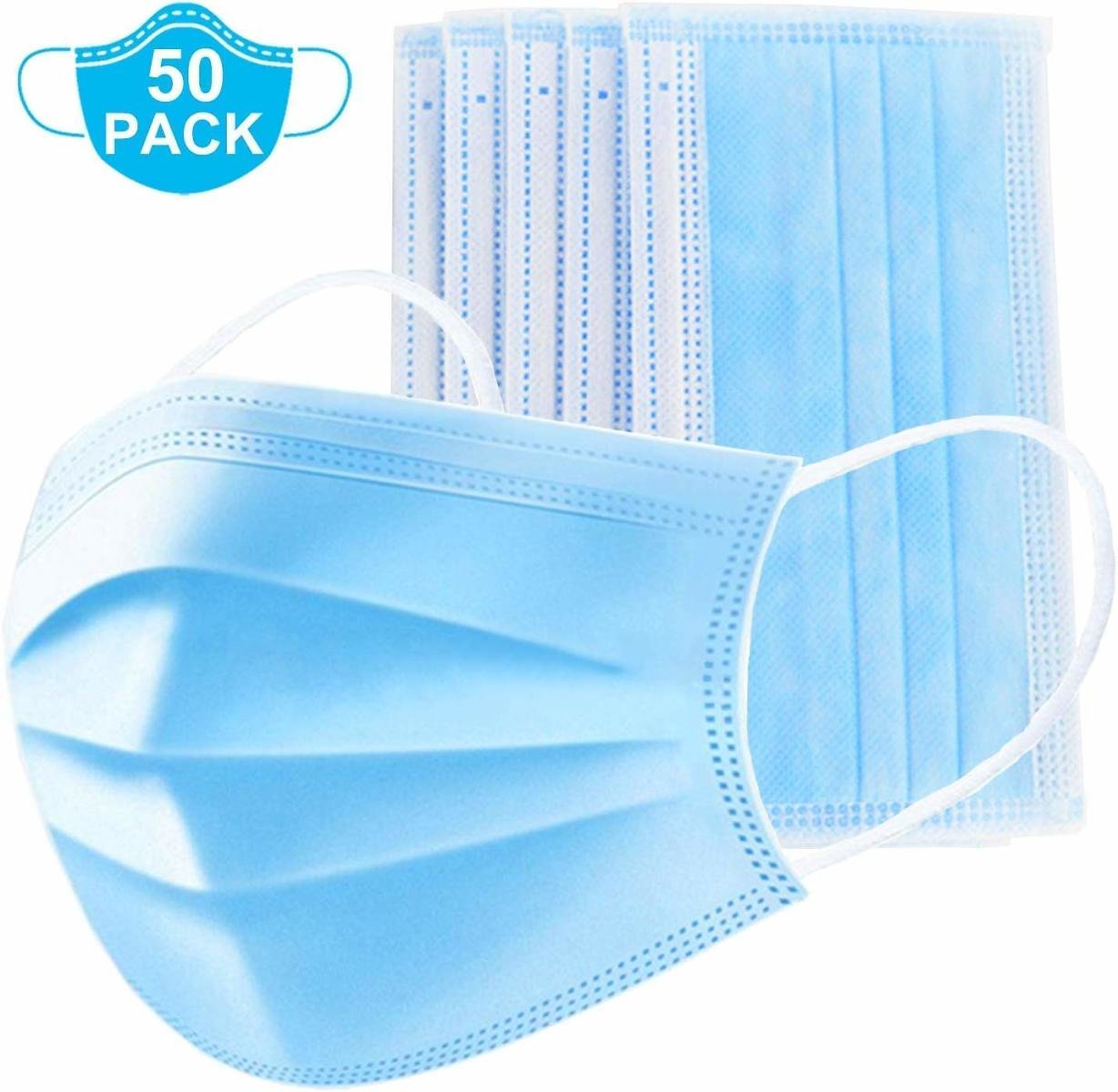 50 Pack of 3-Ply Disposable Face Masks With Bendable Nose Pieces - FDA CERTIFIED FACTORY