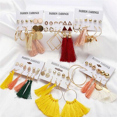6Pairs/set Boho Vintage Gold Big Circle Hoop Earrings Women Long Tassel Ear Stud