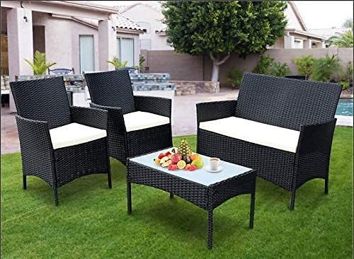 SIMBR 4 Pieces Outdoor Patio Furniture Sets Wicker Chairs with Coffee Table