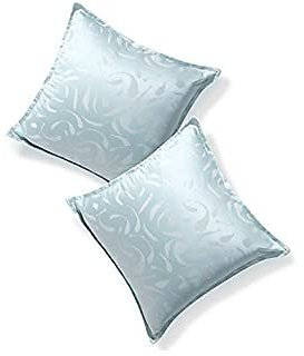 Deconovo Designer Series Luxurious Cushion Covers with Invisible Zipper Jacquard Curly Textured Pillowcases for Couch Bed 16x16 Inch Slate Blue 2 Packs Case Only
