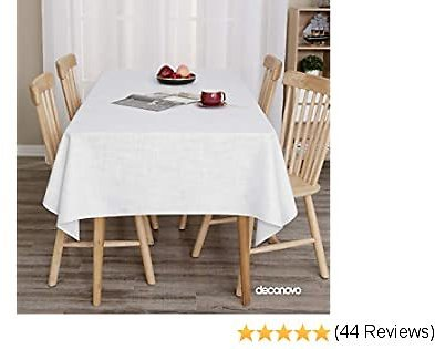 Deconovo White Table Cover for Wedding Tablecloth Rectangle Water Resistant Faux Linen Table Cloth 54x120 Inches