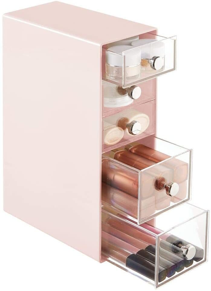 MDesign Plastic Makeup Storage Organizer for Bathroom Vanity, Cabinet, Counters, Holds Lip Gloss, Eyeshadow Palettes, Brushes, Blush, Mascara, Lipstick, Liners, Hair Ties, 5 Drawers - Light Pink/Clear