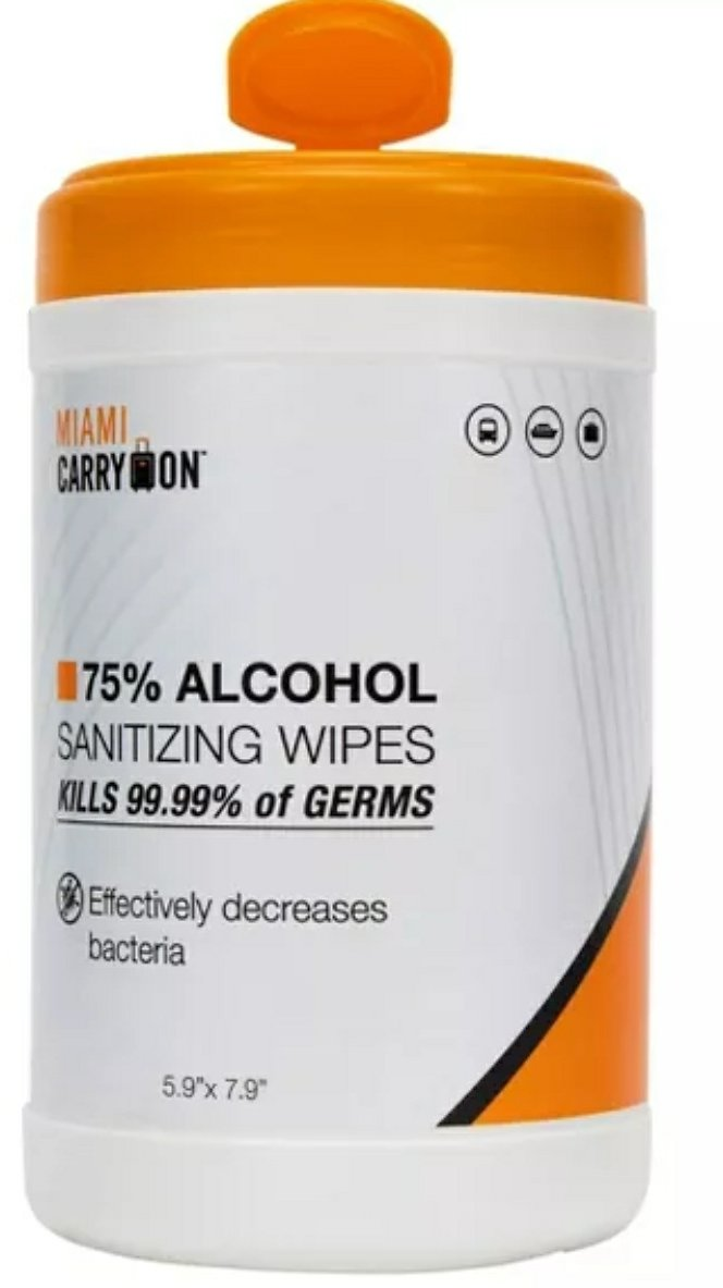 Miami CarryOn 75% Alcohol Sanitizing Wipes Canister - 100ct